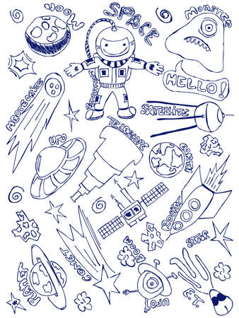 Hand-drawn doodles with a space exploration theme Vector