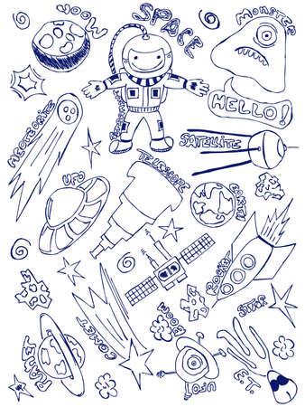 Handgetekende doodles met een verkenning van de ruimte thema