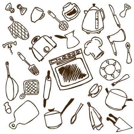 modificar: Utensilios de cocina aisladas sobre fondo blanco, el archivo es muy f�cil de editar, los objetos son muy flexibles para cambiar el tama�o, modificar y girar. Vectores