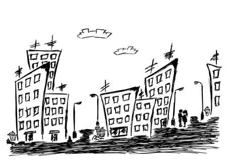 Hand-drawn illustration of the cityscape and couple Vector