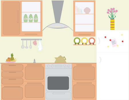 Full set vector of kitchen in color Çizim