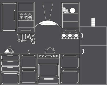 Full set vector of kitchen in black and white colors Vector