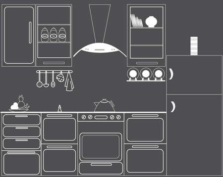 kuchnia: Pełny zestaw wektora kuchni w kolorach czerni i bieli Ilustracja