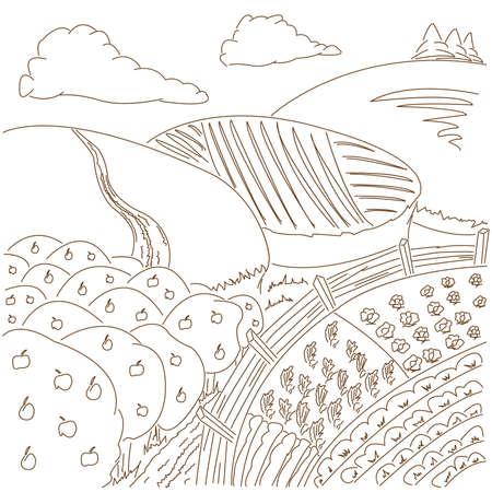 range fruit: Illustration of rural landscape with apple trees
