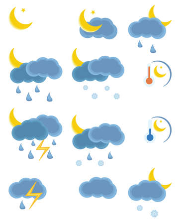 Collection of the weather night icon. Please visit my portfolio to see weather day icon. Stock Vector - 5601759