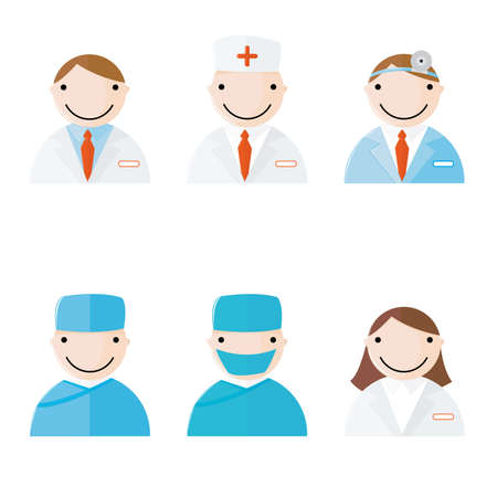 face surgery: Web 2.0 style vector icons of medical and health care icons
