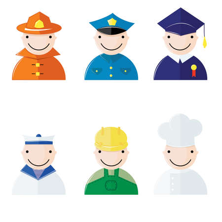 Funny avatars at occupations jobs on white background Vector