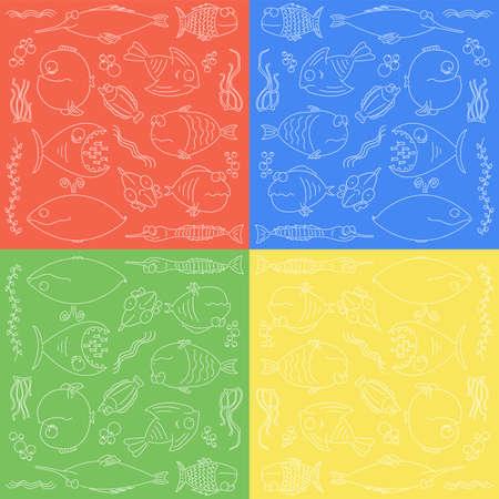 fishing area: Seamless pattern with cartoon cut fishes