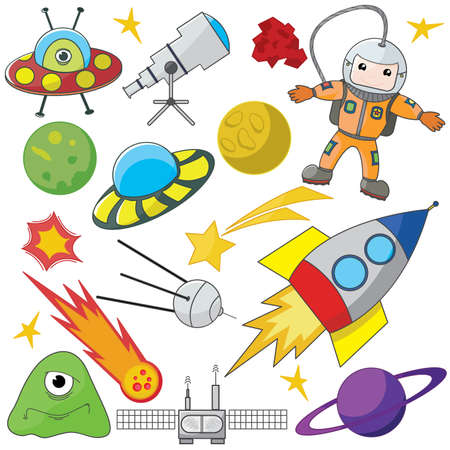 astronauts: Fully editable vector illustration of a collection of space elements