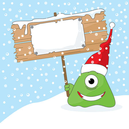 The monster holding the lacard with your christmas message. All elements are easily moved. Vector