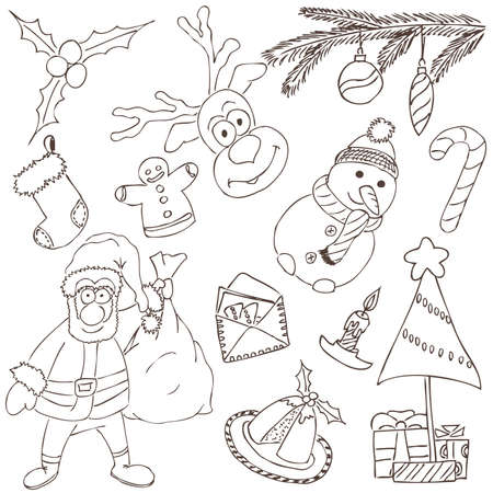 doodled: Christmas elements drawn in a doodled style. Illustration