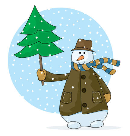 A country snowman with Christmas tree in a holiday scene  Stock Vector - 5905843