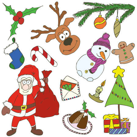 Christmas elements drawn in a doodled style. Vector