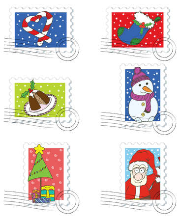 snowman isolated: Stamps and postmarks for Christmas Day. Illustration