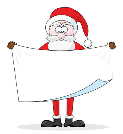 Santa Claus holding blank sign for your message Vector