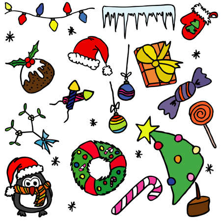 Hand-drawn color doodle on the Christmas theme Vector