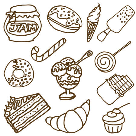 Collection of the hand-drawn doodles of the different desert. Stock Vector - 6039296