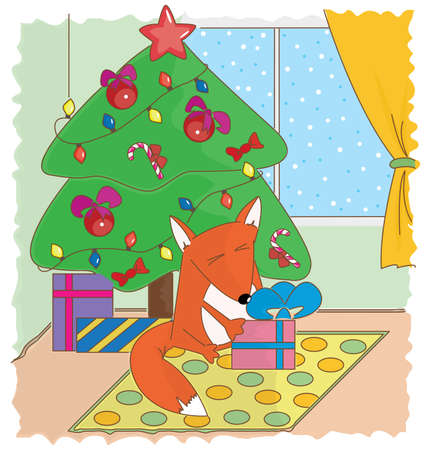 Fun red fox sitting under the evergreen tree with gift box.  Vector