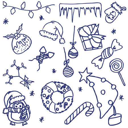 Hand-drawn fun doodle on the christmas theme Vector