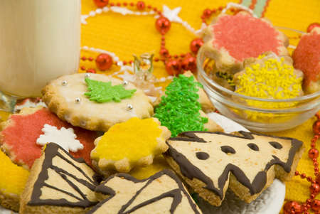 Christmas cookies and glass of milk  photo