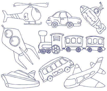 large group of objects: Collection of hand-drawn doodle on the transport theme Illustration