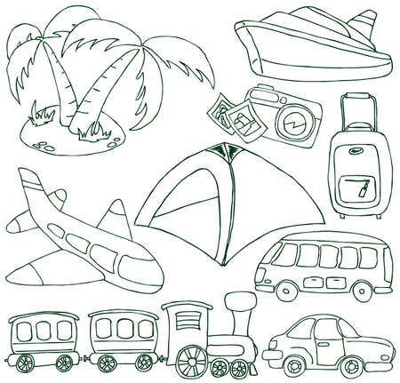 Collection of the hand-drawn doodle on the travel and transport themes Vector