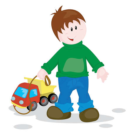 The cheerful little boy playing with toy lorry Vector