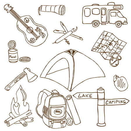 Hand-drawn doodle on the camping theme isolated on white background Иллюстрация