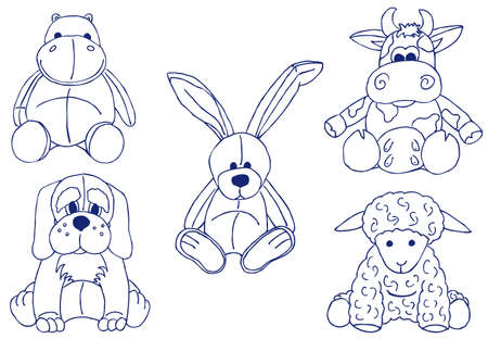 A set of hand-drawn doodle with different plush animal toys