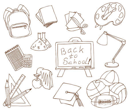 large group of objects: Hand-drawn fun doodles on the education theme