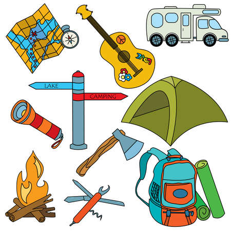 Set of colored cut doodles on the camping theme isolated on white background Иллюстрация