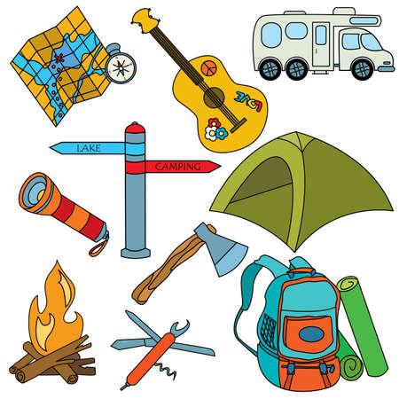 Set van gekleurde cut doodles op de camping thema geïsoleerd op witte achtergrond
