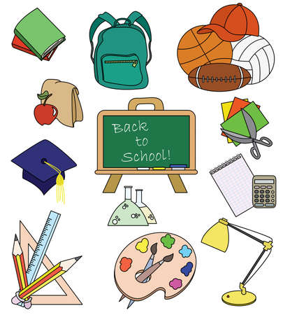 Fun colored doodles on the education theme Vector