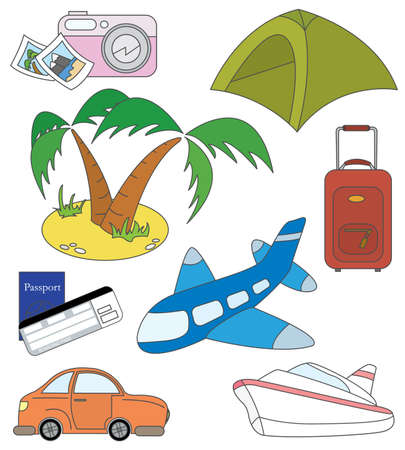 Collection of colored cut doodles on the travel and transport themes Vector