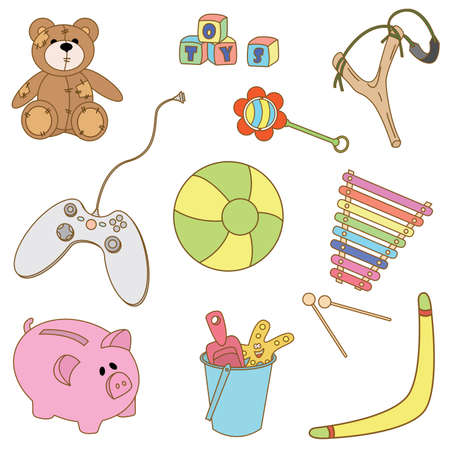 Collection of cut doodles on the toys theme isolated on white background Vector