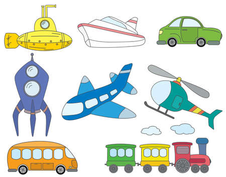 large group of objects: Collection of fun color doodles on the transport theme