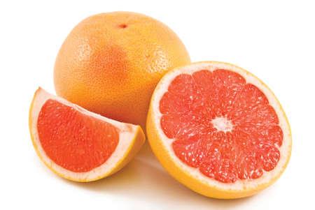 Fresh grapefruit with cut isolated on white background