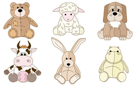 plush: A set cut, fun and colored doodles with different plush animal toys