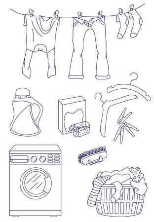 laundry hanger: Conjunto de iconos de lavander�a aislados sobre fondo blanco