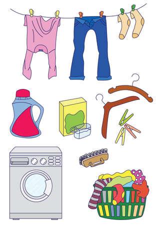 laundry hanger: Conjunto de iconos de lavander�a de color aislados sobre fondo blanco  Vectores