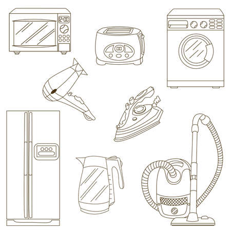 electric kettle: Home related electronic apparatus icon set isolated on white background