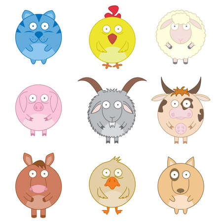 animals and pets: Icon set of cute fun farm animals