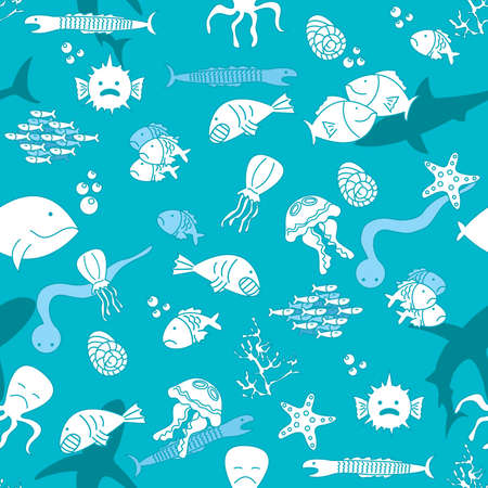 whale underwater: Seamless pattern with cut fun fishes