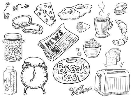 Hand-drawn doodle on the breakfast theme Vector