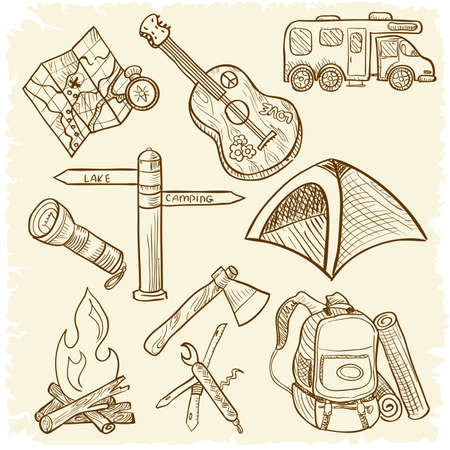 bonfire: Hand-drawn doodle on the camping theme isolated on white background Illustration