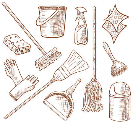 cleaning equipment: House cleaning service hand-drawn icon set  Illustration