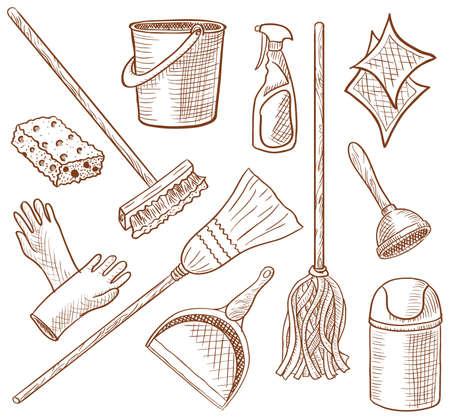 seau d eau: M�nage service ic�ne dessin�es � la main ensemble