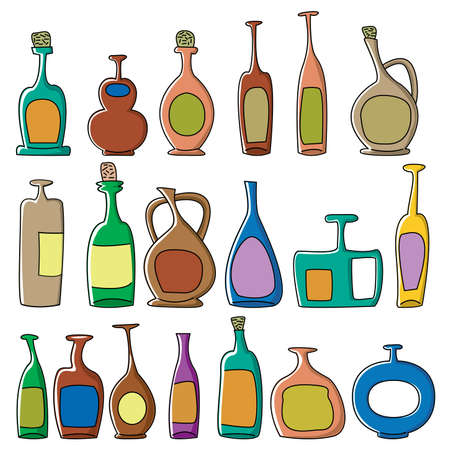 Fun cut bottles isolated on white background Vector