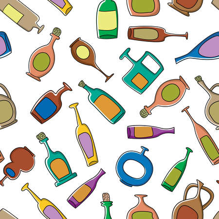 Seamless pattern with fun cut bottles Stock Vector - 6626419