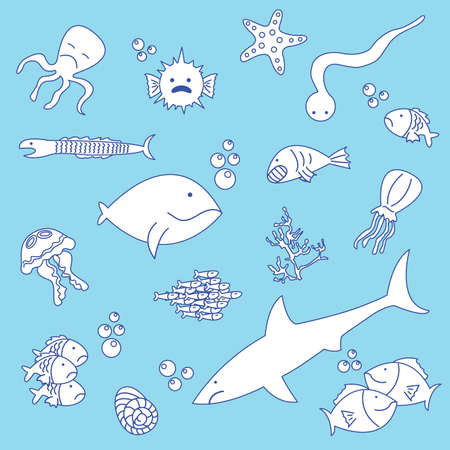 Doodle set of different cut fun fishes Vector